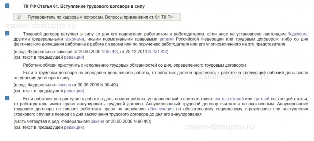 ст. 61 ТК РФ