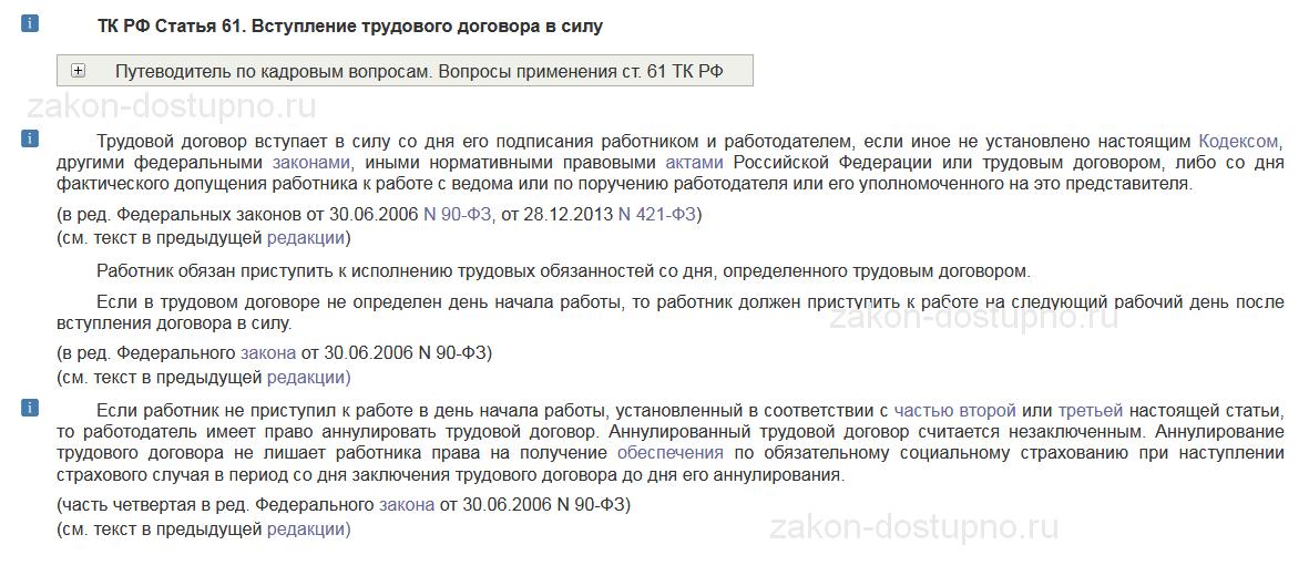 статья 61 тк рф с комментариями