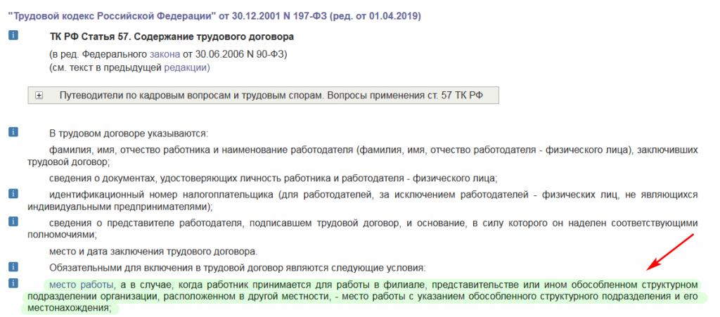 ст. 57 ТК РФ